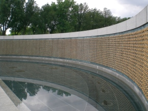 The field of stars represents those who were killed in action. Each star represents 100 Americans. The memorial has 4048 of them. During the war, families hung banners with stars on them--a blue one for a family member serving in the armed forces, a gold one for a family member killed in the service.
