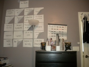 I sort of storyboarded my chapters on my wall for about a year. I moved them around and folded up the corners when that chapter was complete. This really motivated me.